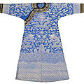 A fine blue dragon robe with black horseshoe shape cuffs, China, Guangxu period