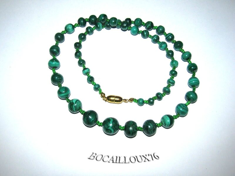 Collier MALACHITE 10 Perles (3)