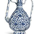 A blue and white 'floral' ewer, ming dynasty, jiajing period