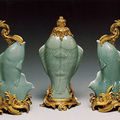 Three fish-shaped vases. Celadon porcelain China, c. 1750, Mount bronze France, mid-18th century
