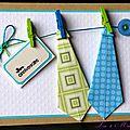 carte d'anniversaire masculine avec 2 cravates en origami