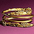 Gold bracelet with beasts of prey tearing at a stag, 1st century bc - first half of the 2nd century