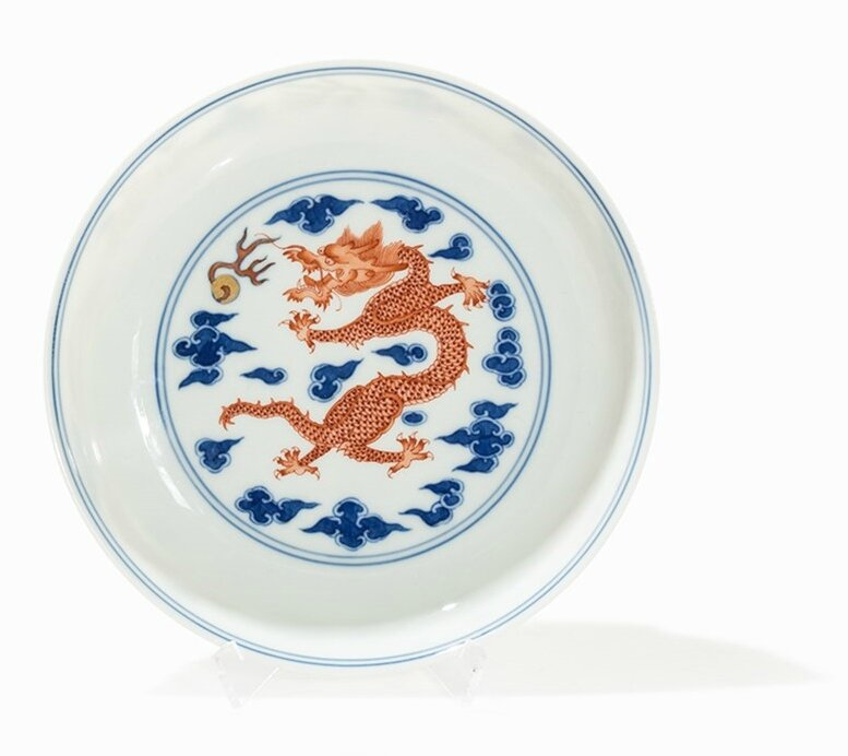 Iron red and Underglaze Blue 'Dragon' Dish, China, Qing dynasty (1644-1911)-Republic period
