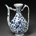 Ewer, porcelain painted in underglaze blue, china (jingdezhen), ming dynasty, xuande mark, jiajing period (1522-1566)