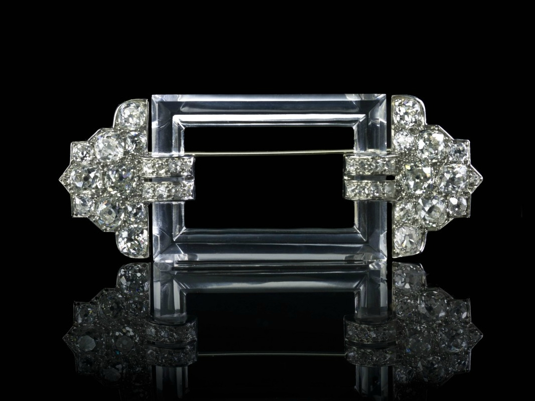 An Art Deco Platinum, Diamond and Rock Crystal Brooch, Cartier