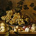 Balthazar van der ast (1593/94 middelburg - 1657 delft), still life with peaches, plums, pears and grapes, ca. 1630