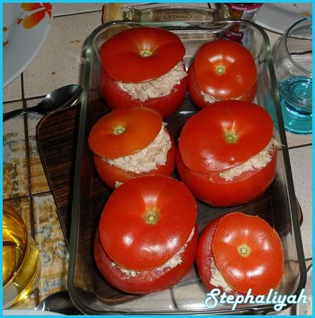 Tomates au riz, thon et fromage frais -- 3