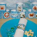 ronds de serviettes sur le thème de la mer