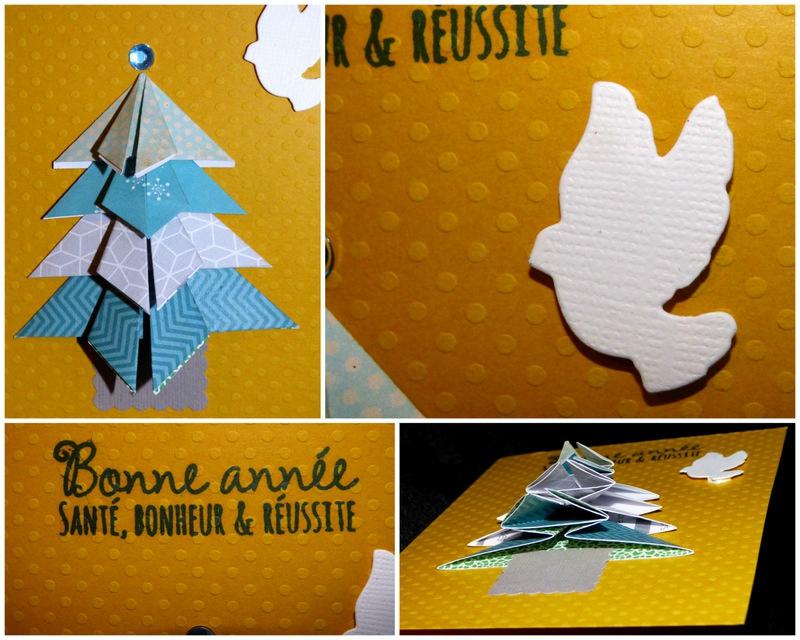 bonne année jaune sapin origami bleu