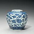 A rare small blue and white hexagonal jar, early ming dynasty, 15th century