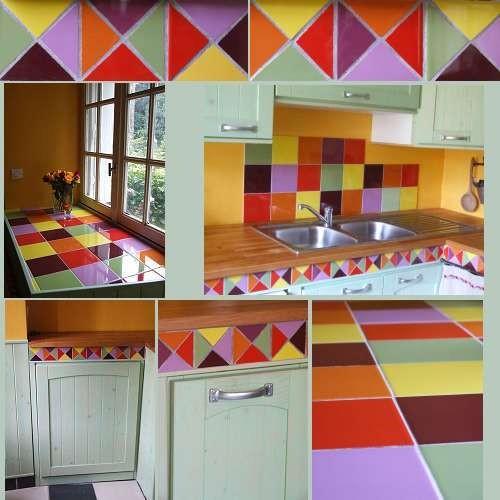 Carrelage multicolore cuisine cuisine colore dans studio for Carrelage mural multicolore