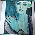 art journal portrait mixed media bleu