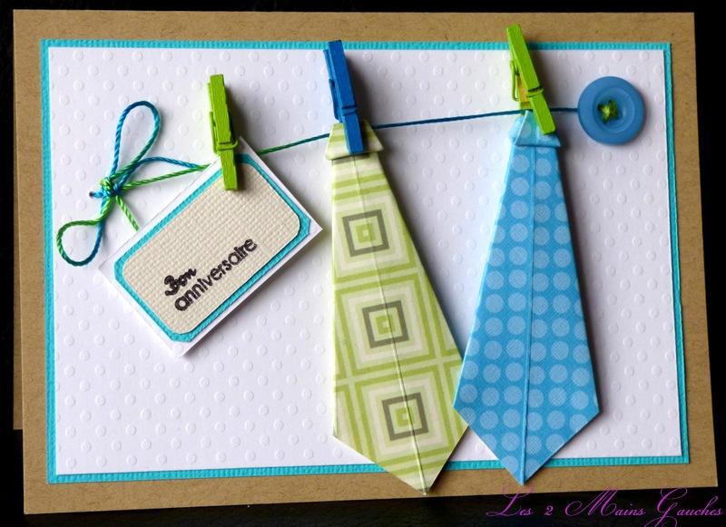 carte d 39 anniversaire masculine avec corde linge et cravates en origami l2mg la boutique. Black Bedroom Furniture Sets. Home Design Ideas