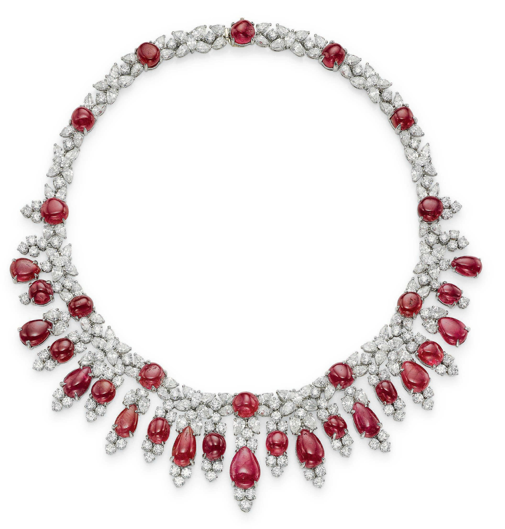 a ruby and diamond fringe necklace by harry winston