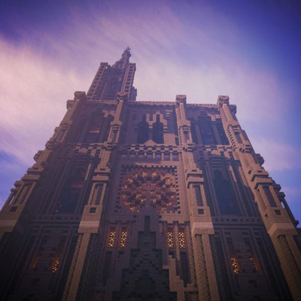 Crédit image Achencraft - Cathédrale Strasbourg Minecraft