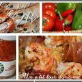 P'tites langoustines rôties, piperade tiède et rouleaux de jambon de bayonne