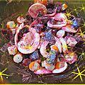 Salade de betteraves,oeufs,surimi et sa vinaigrette à la pulpe de poire et vanille