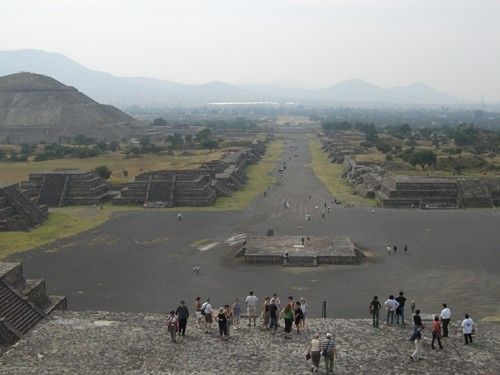 Teotihuacan - View of the Avenue of the Dead from the Pyramid of the Moon
