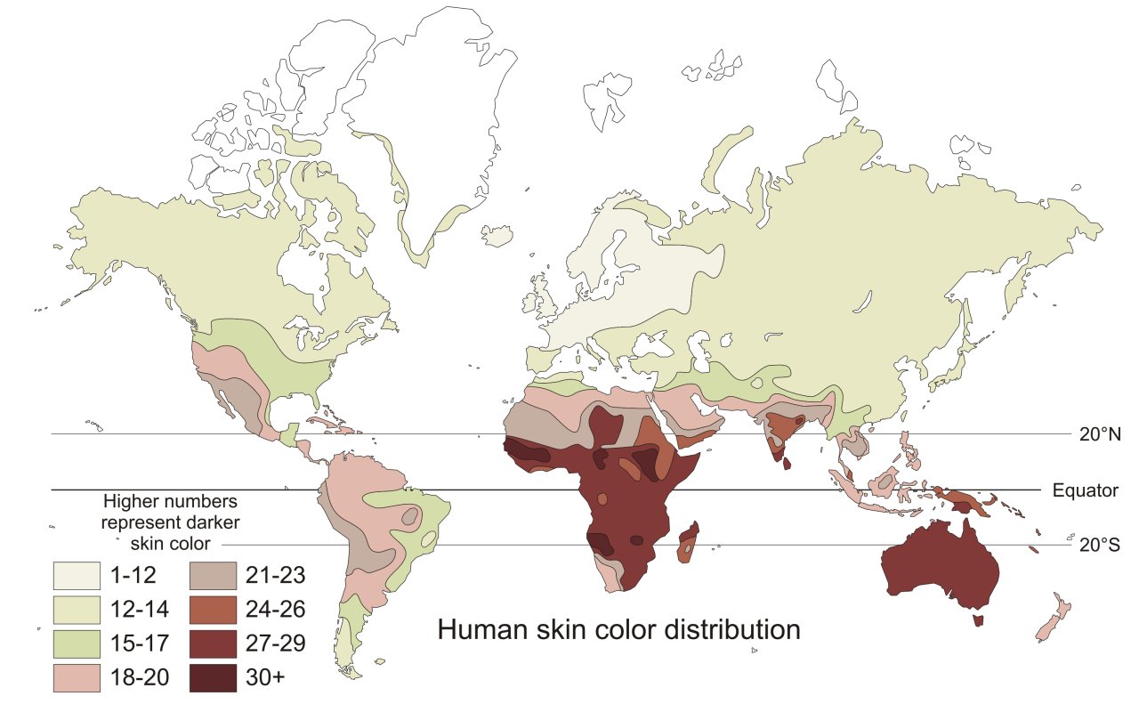 Human skin color of native populations