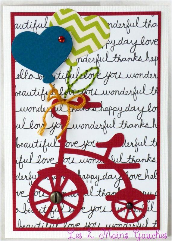 carte d'anniversaire avec vélo rouge et ballons