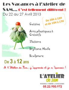 ANNONCE ATELIERS VACANCES AVRIL 2013