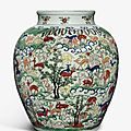 A large and important wucai 'hundred deer' vase, wanli mark and period (1573-1619)