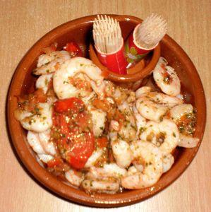 Crevettes tomates basilic