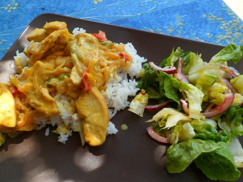 poulet poivrons crème - riz