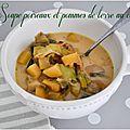 Soupe poireaux et pommes de terre au cumin