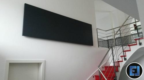 panneaux acoustiques isophonic std et murs acoustiques en toile tendue chez un particulier. Black Bedroom Furniture Sets. Home Design Ideas