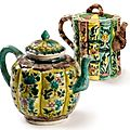 Two Chinese Export Porcelain Glazed Biscuit Teapots And Covers. Qing Dynasty, 18th-19th Century