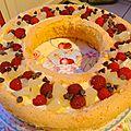 Gâteau d'anniversaire poire-chocolat-crème pâtissière