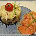 Risotto aux lardons, salade de tomates