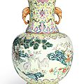 A famille-rose 'three goats' vase, Seal mark and period of Daoguang (1821-1850)