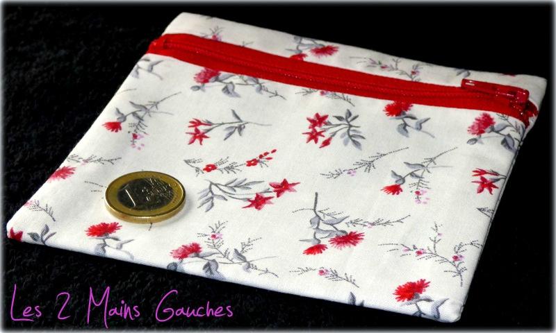 porte-monnaie féminin fleuri rouge
