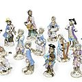 Fifteen meissen monkey-band figures, 19th century, blue crossed swords marks, incised numerals and pressnummern
