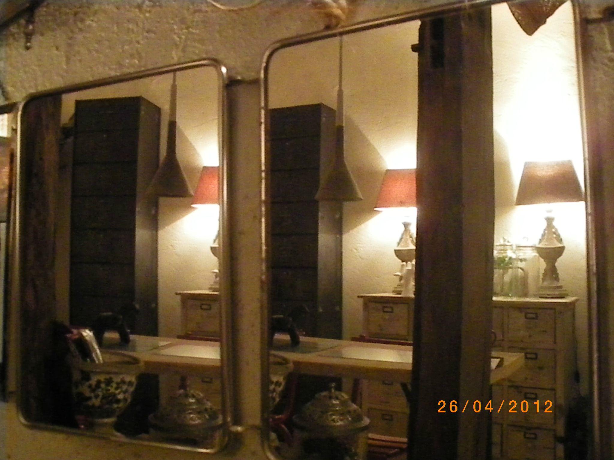 Miroir industriel fait d 39 un cadran d 39 une ancienne serre - Miroir de barbier triptyque ...
