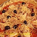 Pizza (base tomate,poulet,chorizo,mozza,olives noires)