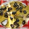 Omelette aux olives noires et poivron vert