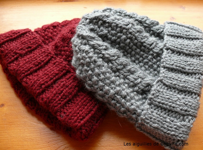 Un bonnet tricoter au point de riz avec une torsade - Tricoter avec une aiguille circulaire ...