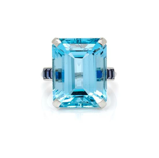 A Vintage Platinum, Aquamarine and Sapphire Ring, Cartier