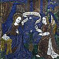 Circle of pseudo-monvaern, french, limoges, circa 1500, plaque with the annunciation