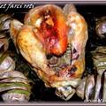 Poulet farci roti au four et ses pommes de terre en habits de fête