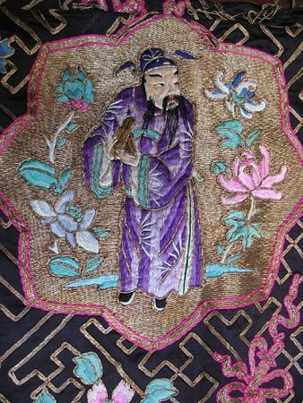A_black_silk_ground_Daoist_priest_s_robe_with_embroidered_decoration4