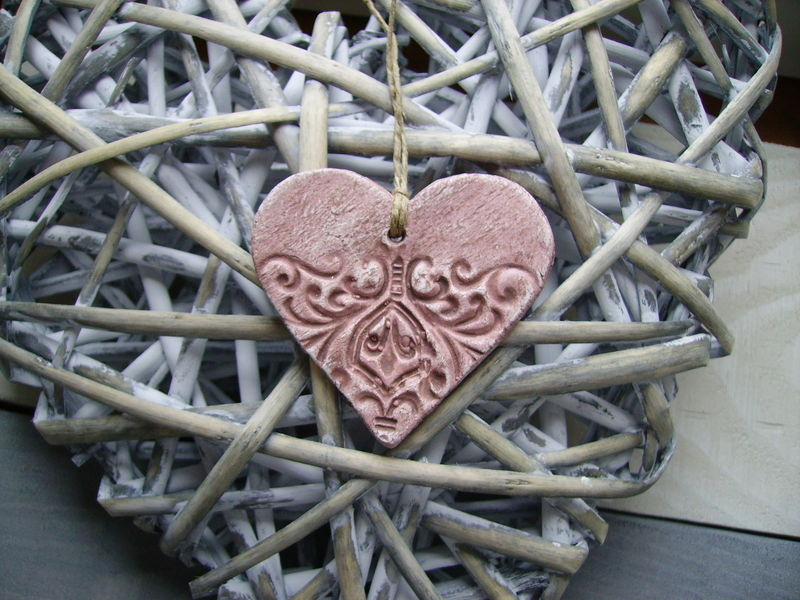 coeur rose patine chocolat