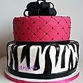 Gâteau girly : effets matelassé et zebré