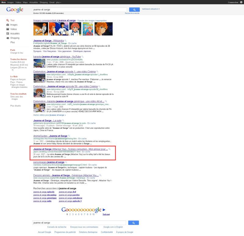Canalblog Google recherche Jeanne et Serge