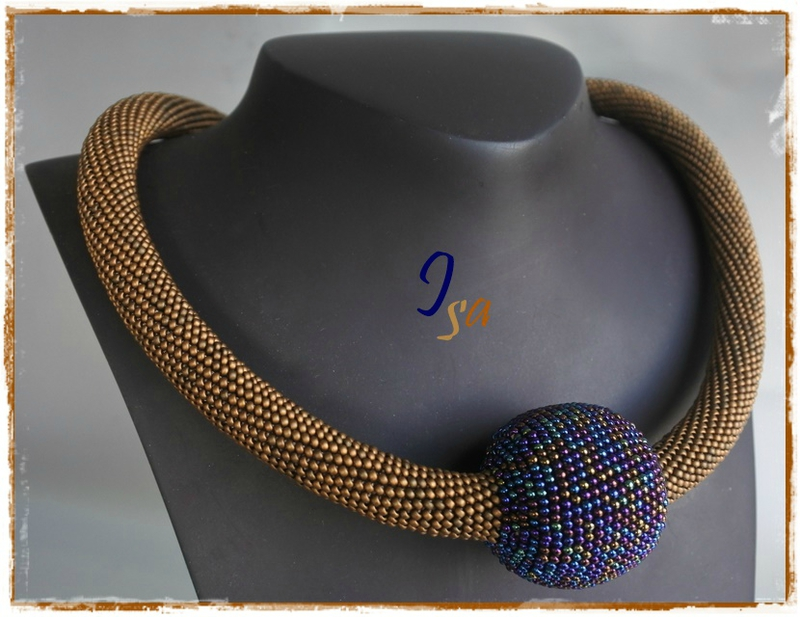 Collier MS 'Boule' bronze & bleu