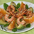 Salade de gambas, avocat, orange