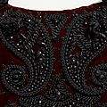 Cristobal Balenciaga. Detail of evening bolero jacket of burgundy silk velvet and jet and passementerie embroidery by Bataille, winter 1946. Collection of Hamish Bowles. Photo by Kenny Komer